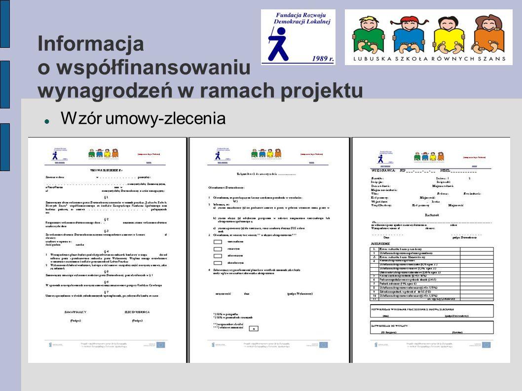 Informacja o współfinansowaniu wynagrodzeń w ramach projektu