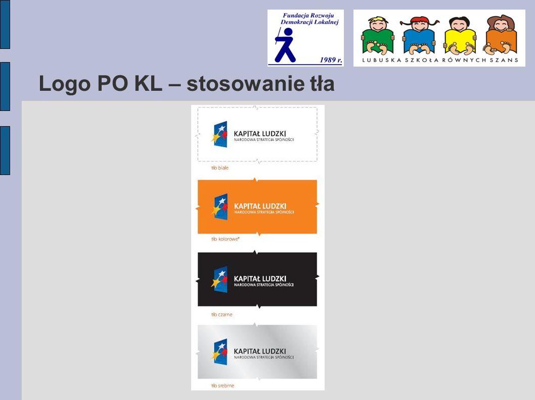 Logo PO KL – stosowanie tła
