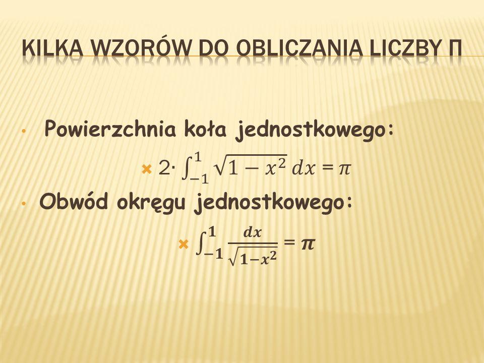 Kilka Wzorów do obliczania liczby π