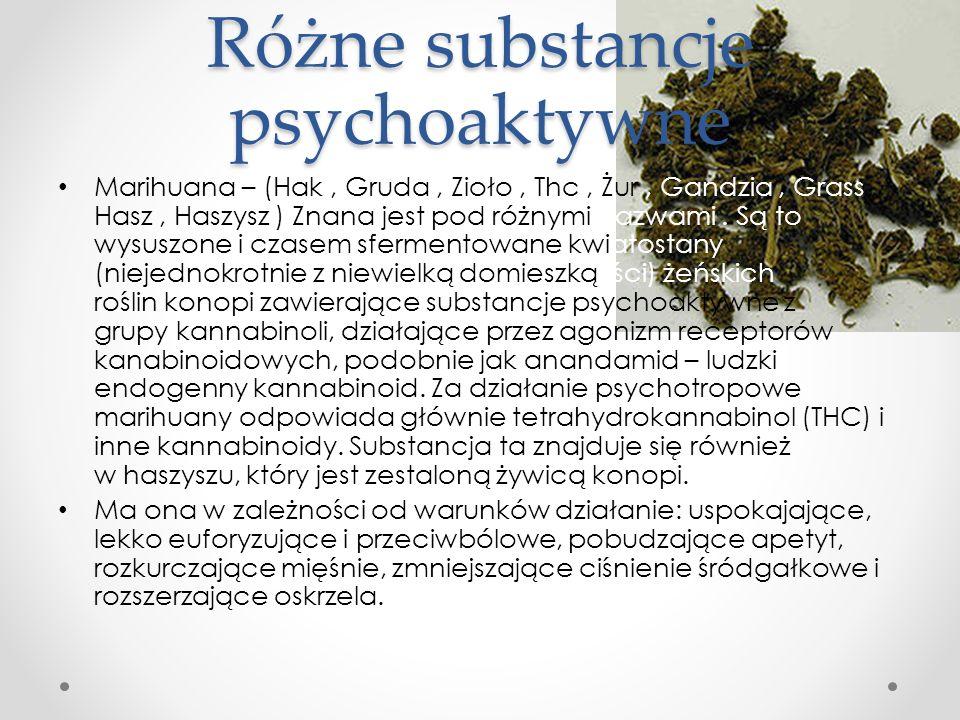 Różne substancje psychoaktywne