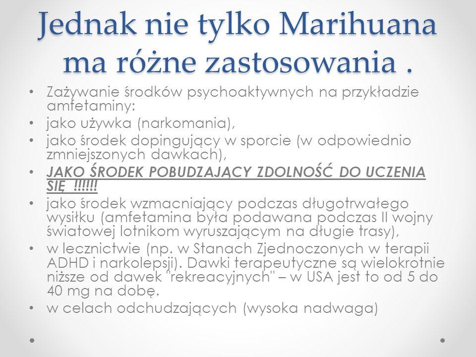 Jednak nie tylko Marihuana ma różne zastosowania .