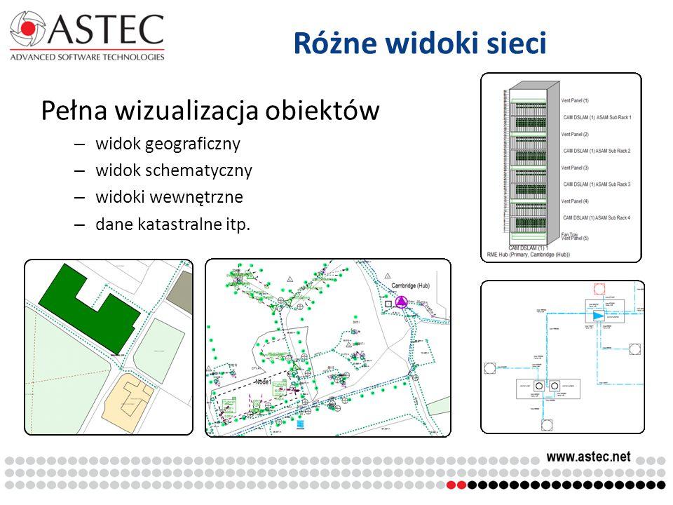Różne widoki sieci Pełna wizualizacja obiektów widok geograficzny