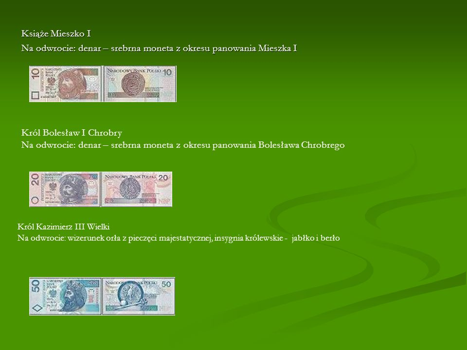 Na odwrocie: denar – srebrna moneta z okresu panowania Mieszka I