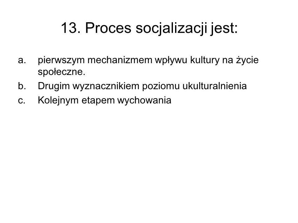13. Proces socjalizacji jest: