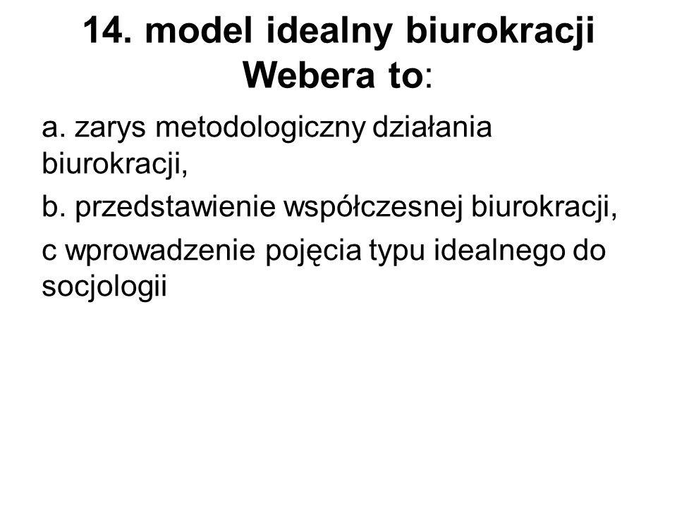 14. model idealny biurokracji Webera to: