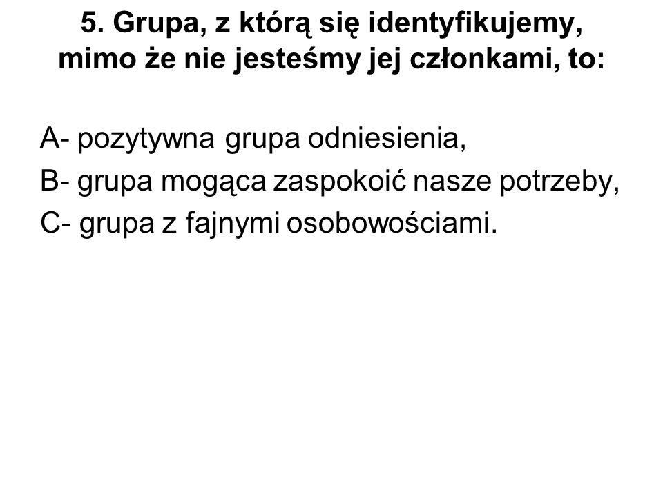 5. Grupa, z którą się identyfikujemy, mimo że nie jesteśmy jej członkami, to: