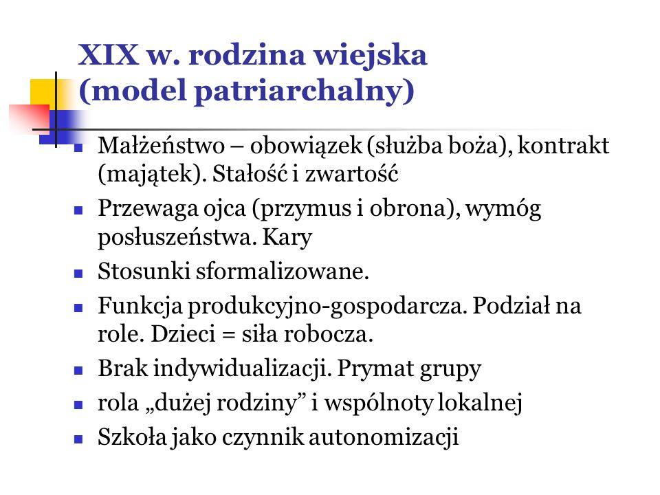 XIX w. rodzina wiejska (model patriarchalny)