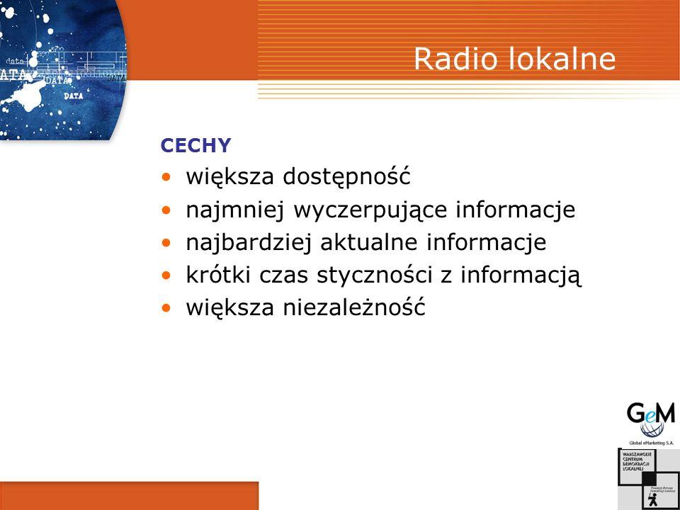 Radio lokalne większa dostępność najmniej wyczerpujące informacje