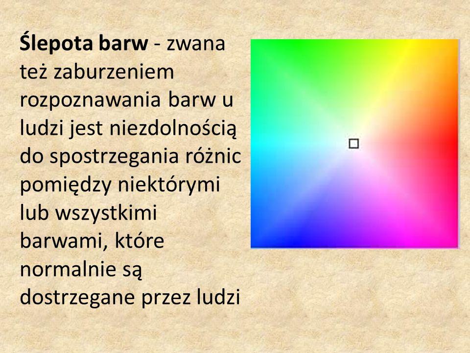 Ślepota barw - zwana też zaburzeniem rozpoznawania barw u ludzi jest niezdolnością do spostrzegania różnic pomiędzy niektórymi lub wszystkimi barwami, które normalnie są dostrzegane przez ludzi