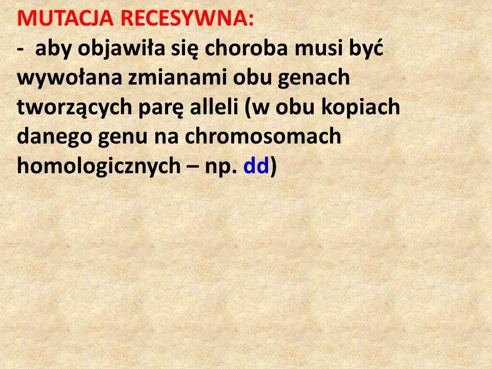 MUTACJA RECESYWNA: