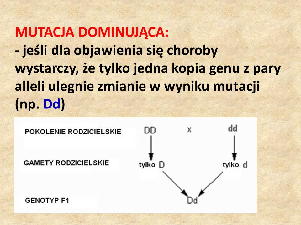 MUTACJA DOMINUJĄCA: - jeśli dla objawienia się choroby wystarczy, że tylko jedna kopia genu z pary alleli ulegnie zmianie w wyniku mutacji (np.