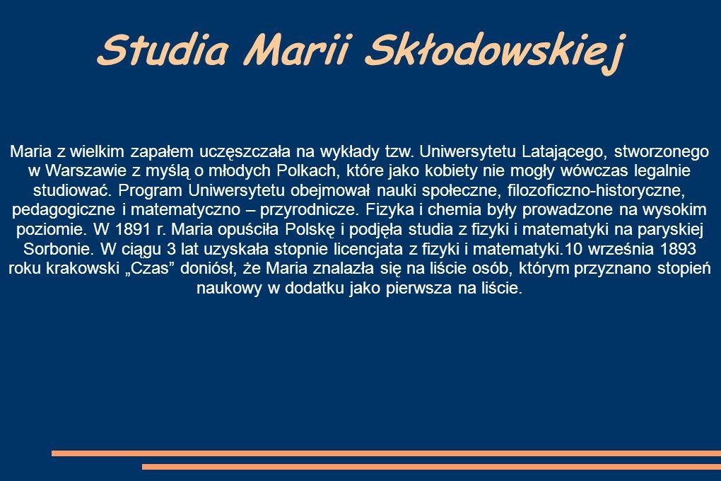 Studia Marii Skłodowskiej