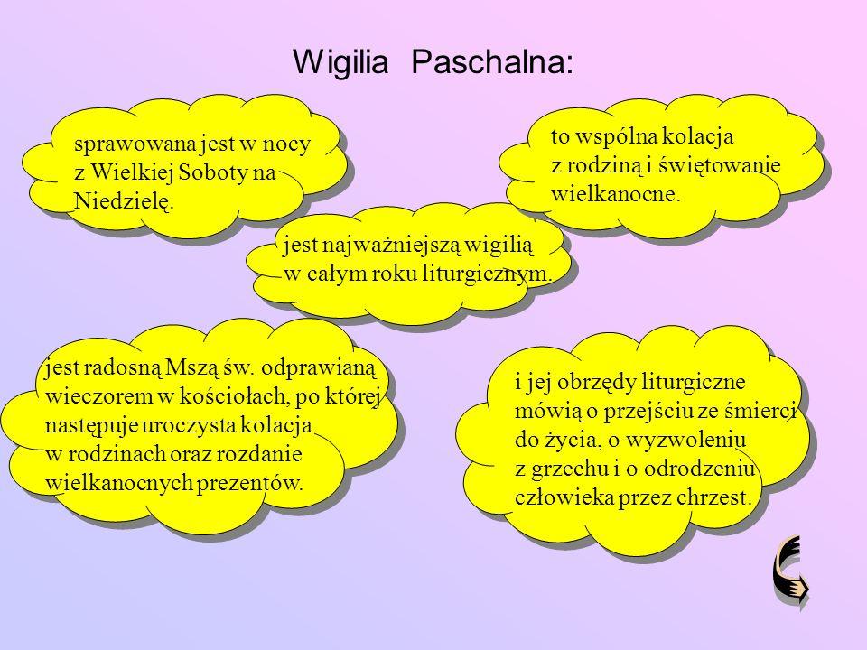 Wigilia Paschalna: to wspólna kolacja z rodziną i świętowanie wielkanocne. sprawowana jest w nocy z Wielkiej Soboty na Niedzielę.