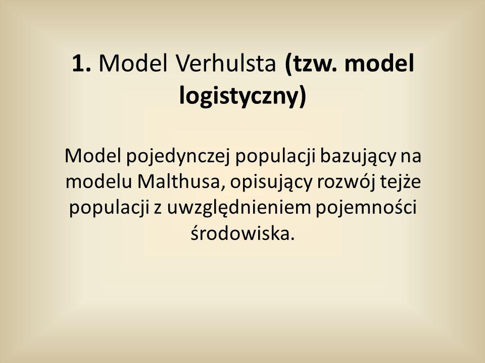 1. Model Verhulsta (tzw. model logistyczny)