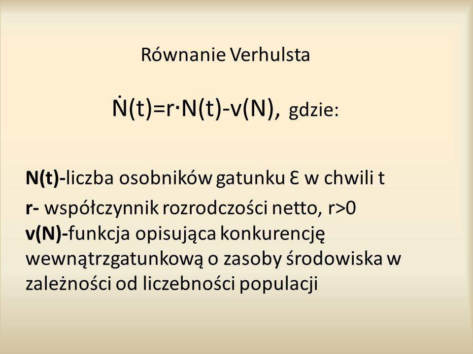 Równanie Verhulsta Ṅ(t)=r∙N(t)-v(N), gdzie: