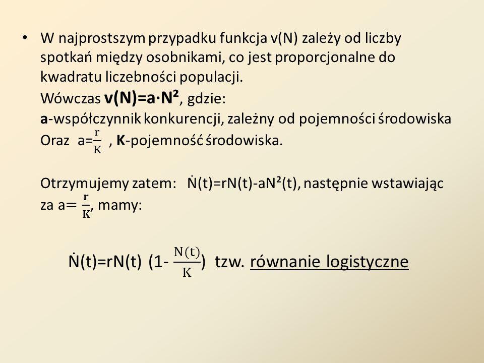 Ṅ(t)=rN(t) (1- N(t) K ) tzw. równanie logistyczne