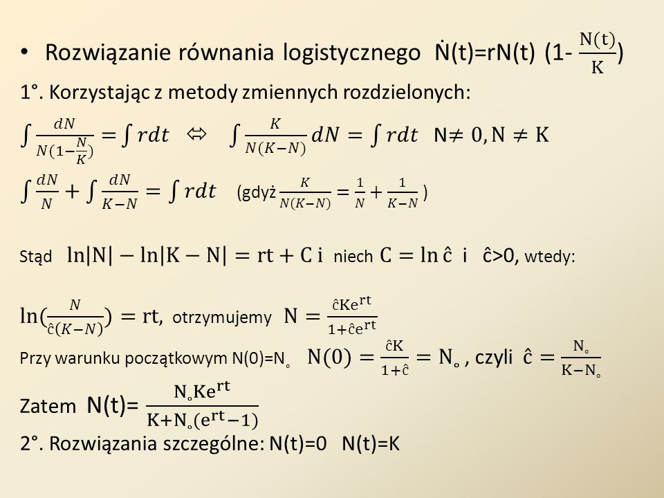 Rozwiązanie równania logistycznego Ṅ(t)=rN(t) (1- N(t) K )