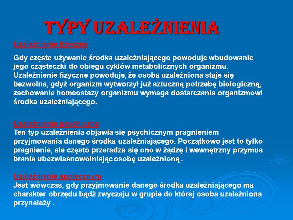 TYPY UZALEŻNIENIA Uzależnienie fizyczne