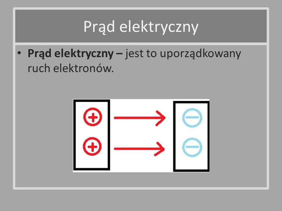 Prąd elektryczny Prąd elektryczny – jest to uporządkowany ruch elektronów.
