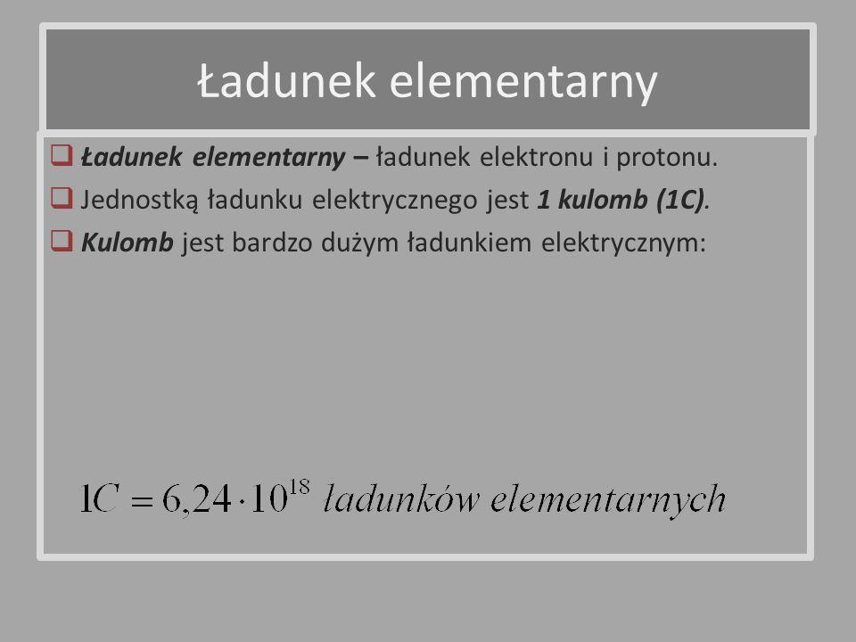 Ładunek elementarny Ładunek elementarny – ładunek elektronu i protonu.