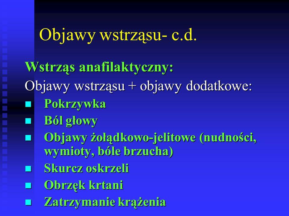 Objawy wstrząsu- c.d. Wstrząs anafilaktyczny: