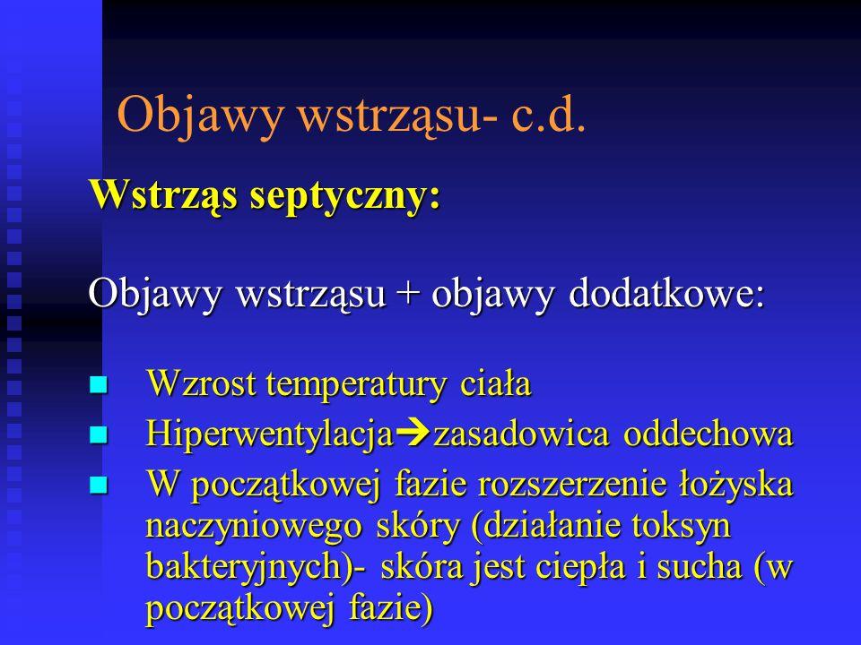 Objawy wstrząsu- c.d. Wstrząs septyczny: