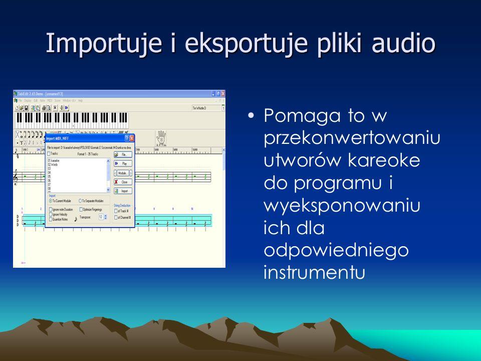 Importuje i eksportuje pliki audio