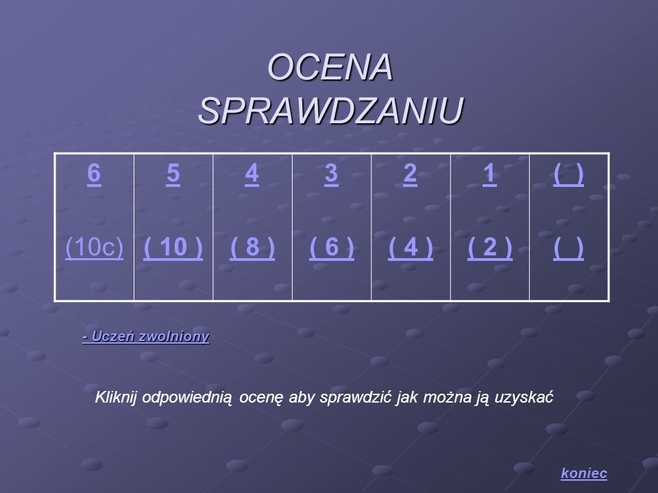 OCENA SPRAWDZANIU 6 (10c) 5 ( 10 ) 4 ( 8 ) 3 ( 6 ) 2 ( 4 ) 1 ( 2 ) ( )