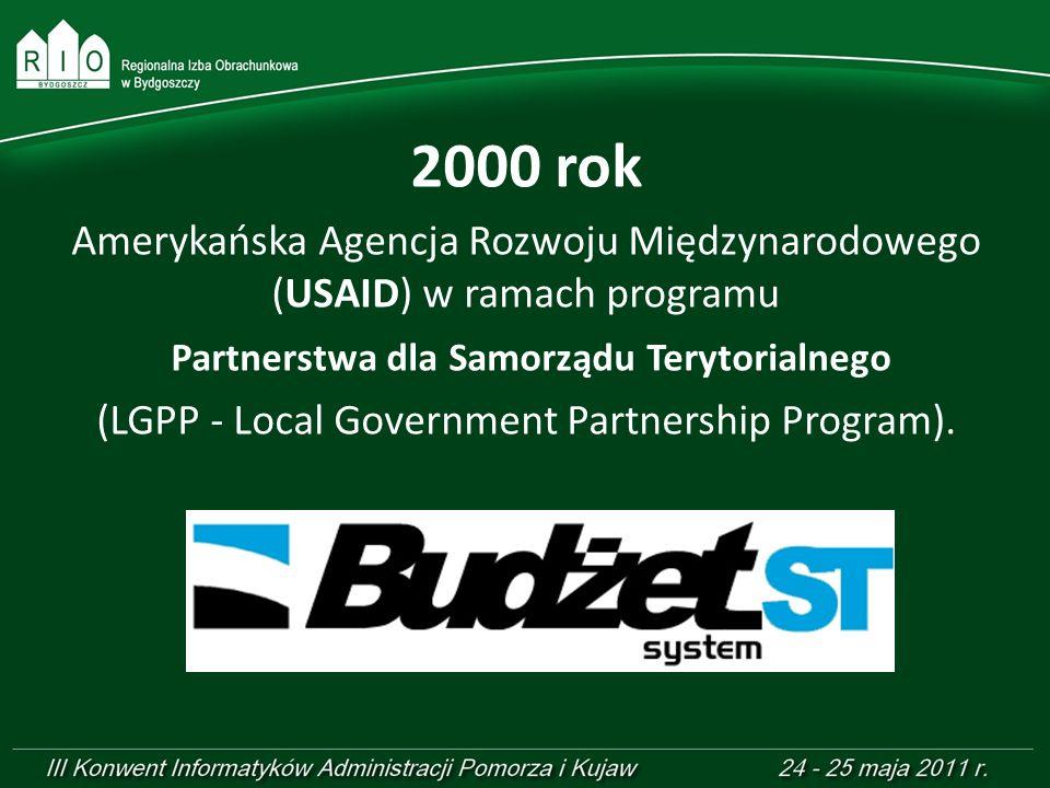 2000 rokAmerykańska Agencja Rozwoju Międzynarodowego (USAID) w ramach programu. Partnerstwa dla Samorządu Terytorialnego.