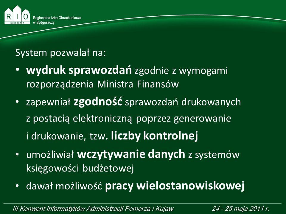 wydruk sprawozdań zgodnie z wymogami rozporządzenia Ministra Finansów