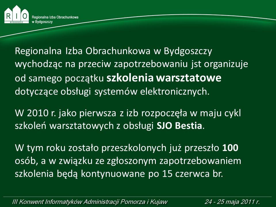 Regionalna Izba Obrachunkowa w Bydgoszczy wychodząc na przeciw zapotrzebowaniu jst organizuje od samego początku szkolenia warsztatowe dotyczące obsługi systemów elektronicznych.
