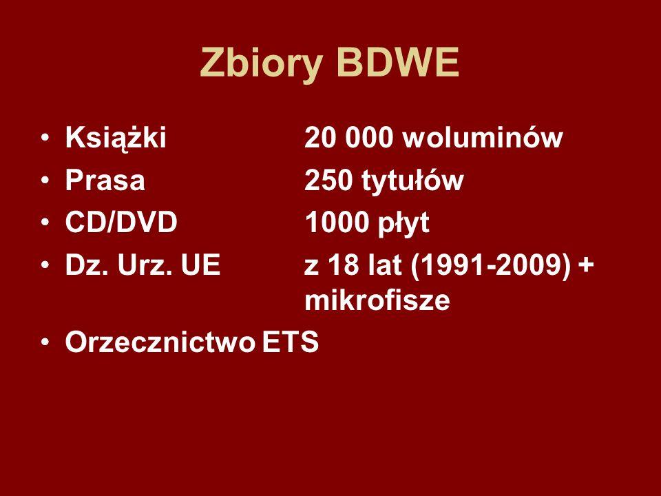Zbiory BDWE Książki 20 000 woluminów Prasa 250 tytułów