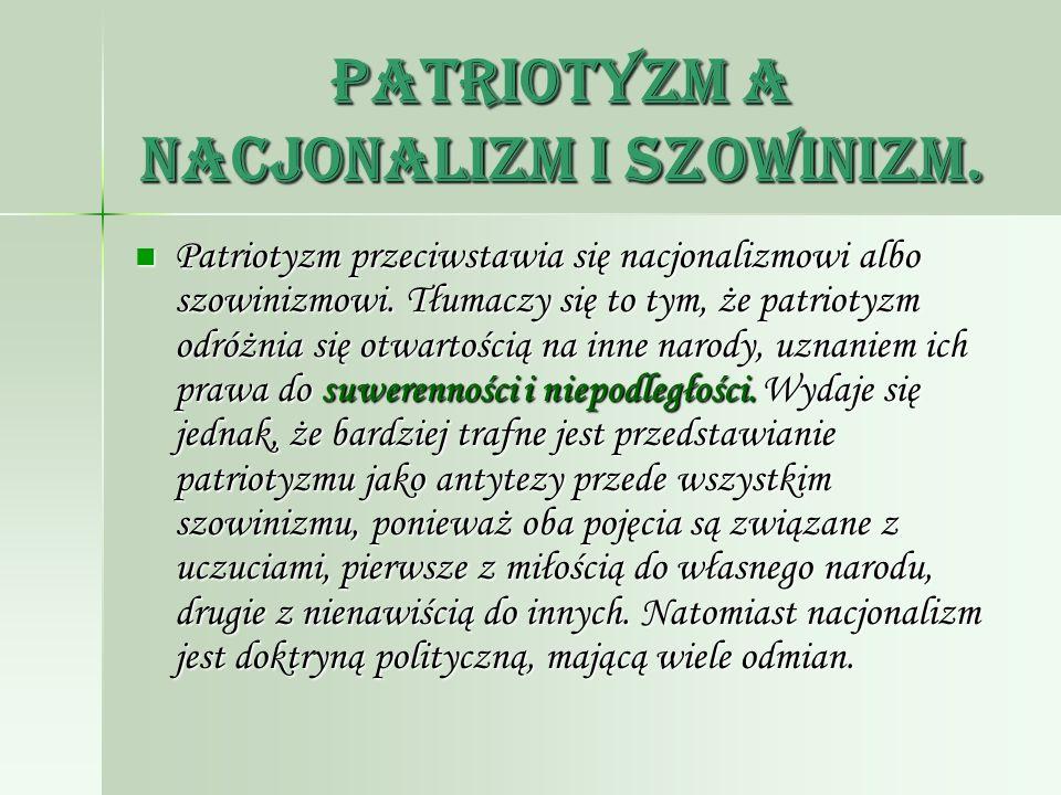Patriotyzm a nacjonalizm i szowinizm.