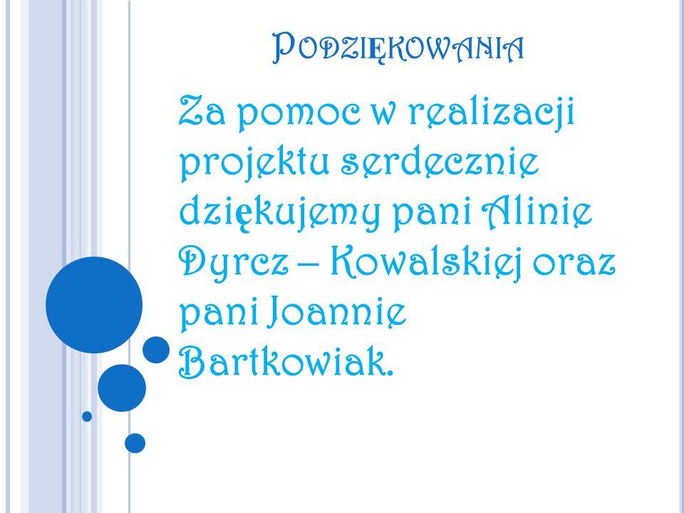 Podziękowania Za pomoc w realizacji projektu serdecznie dziękujemy pani Alinie Dyrcz – Kowalskiej oraz pani Joannie Bartkowiak.