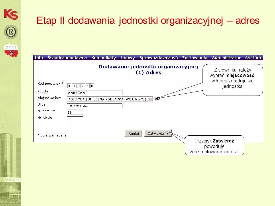 Etap II dodawania jednostki organizacyjnej – adres