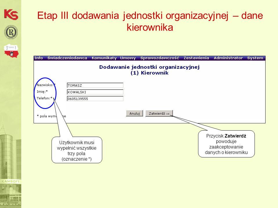 Etap III dodawania jednostki organizacyjnej – dane kierownika