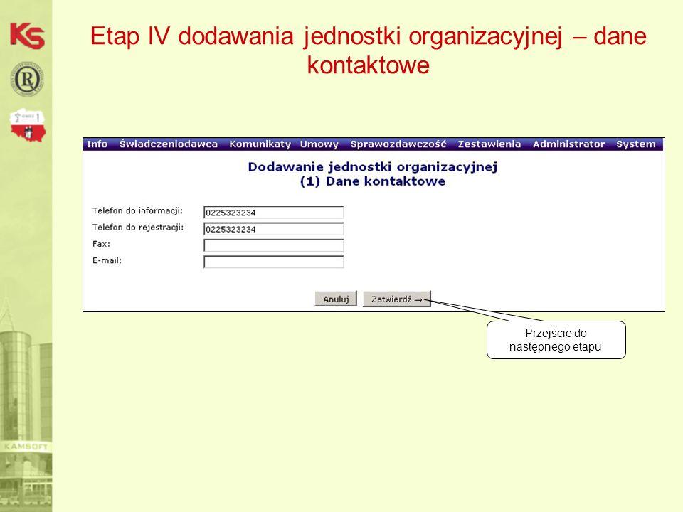 Etap IV dodawania jednostki organizacyjnej – dane kontaktowe