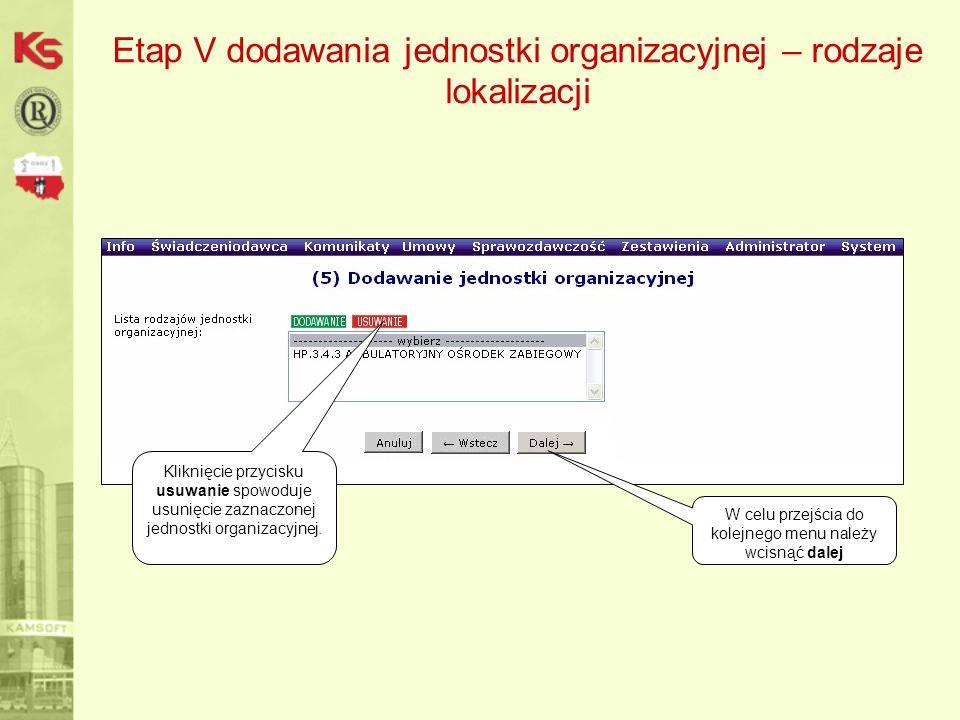 Etap V dodawania jednostki organizacyjnej – rodzaje lokalizacji