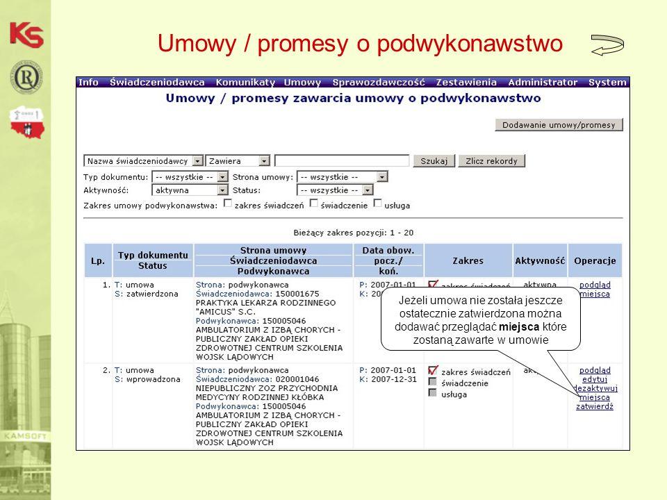 Umowy / promesy o podwykonawstwo