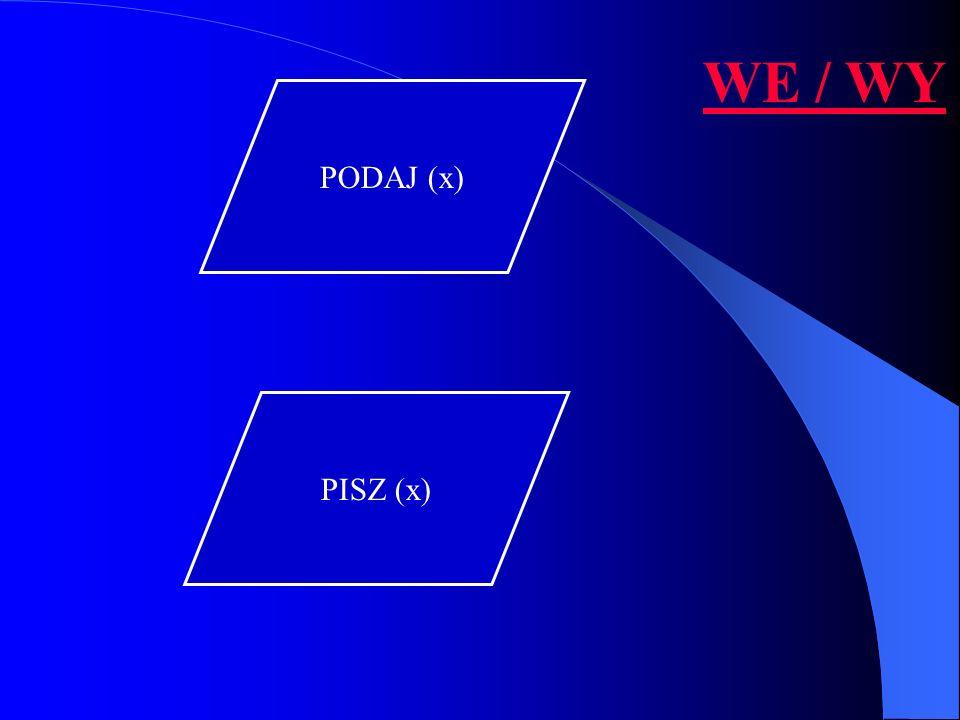 WE / WY PODAJ (x) PISZ (x)
