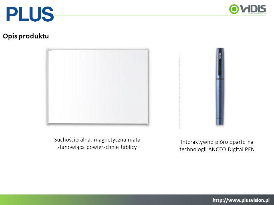 Opis produktu Suchościeralna, magnetyczna mata stanowiąca powierzchnie tablicy. Interaktywne pióro oparte na technologii ANOTO Digital PEN.