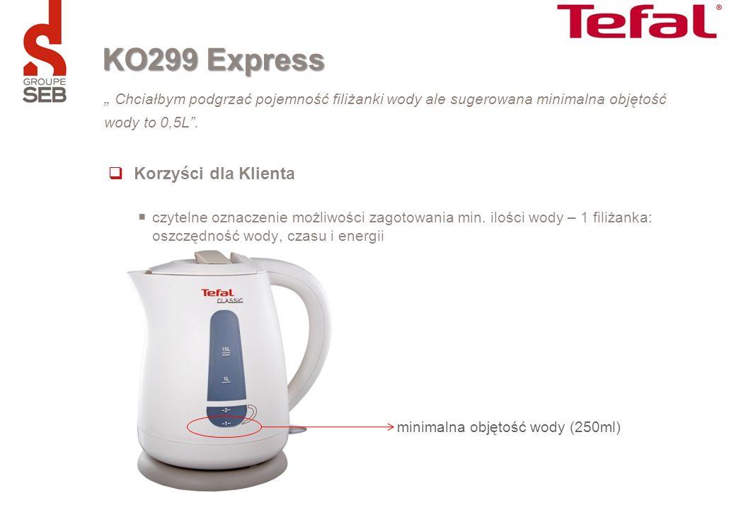 """KO299 Express """" Chciałbym podgrzać pojemność filiżanki wody ale sugerowana minimalna objętość wody to 0,5L ."""