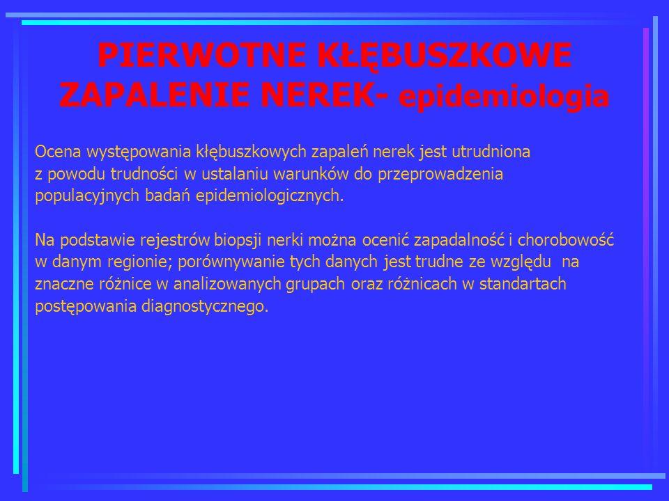 PIERWOTNE KŁĘBUSZKOWE ZAPALENIE NEREK- epidemiologia
