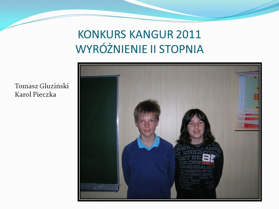 KONKURS KANGUR 2011 WYRÓŻNIENIE II STOPNIA