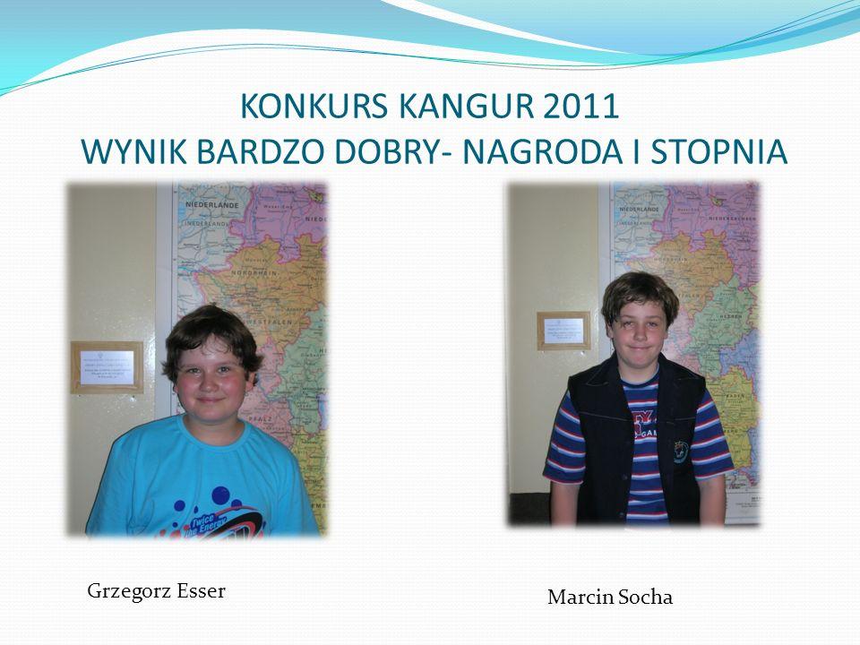 KONKURS KANGUR 2011 WYNIK BARDZO DOBRY- NAGRODA I STOPNIA