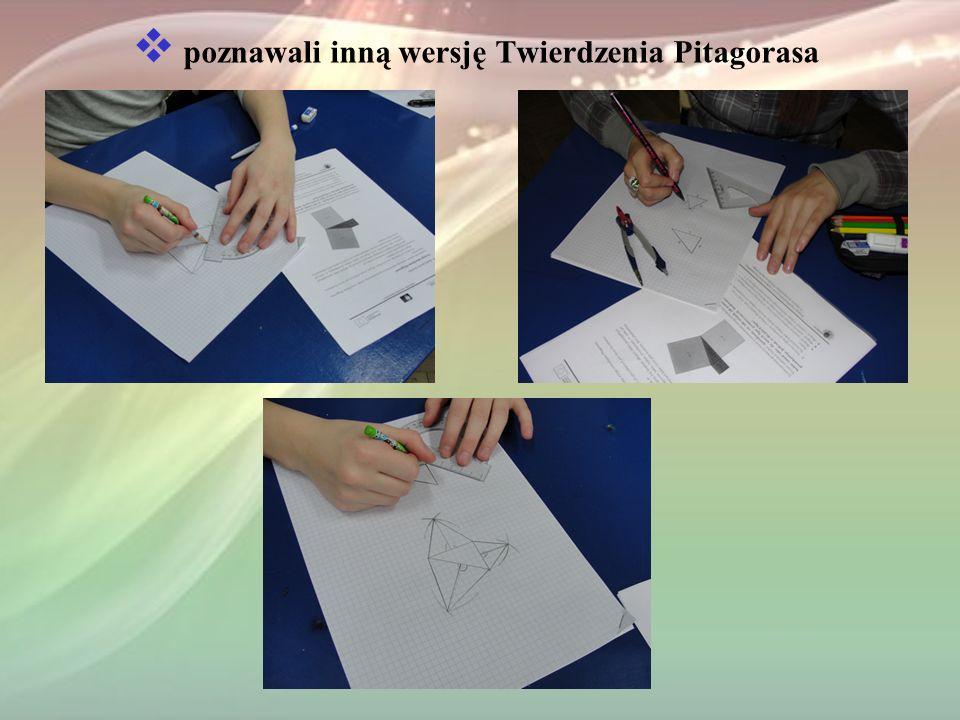 poznawali inną wersję Twierdzenia Pitagorasa