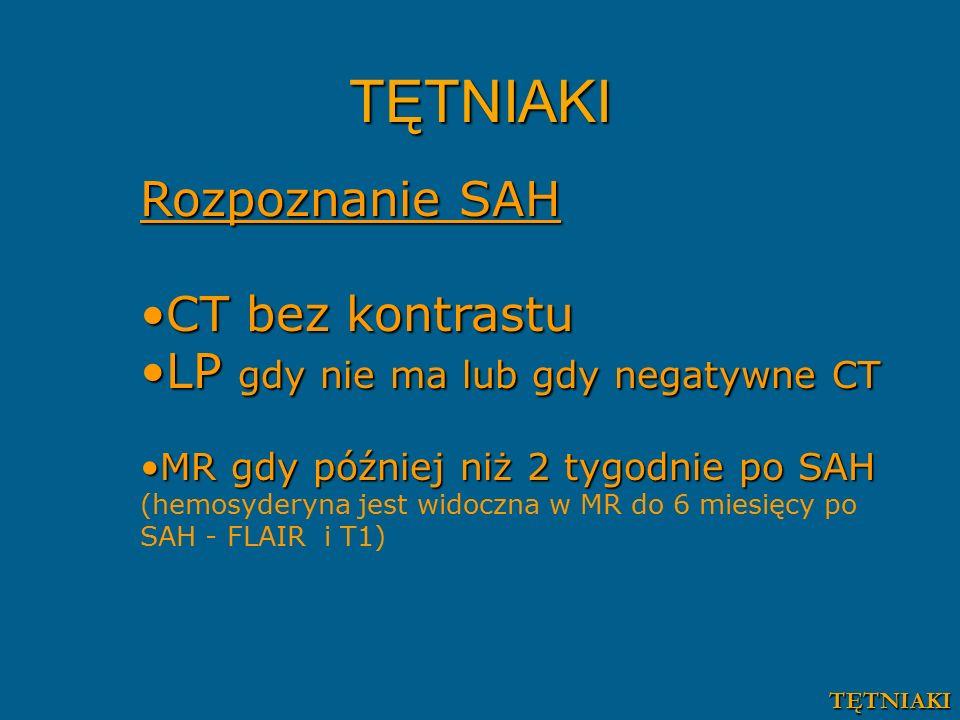 TĘTNIAKI Rozpoznanie SAH CT bez kontrastu