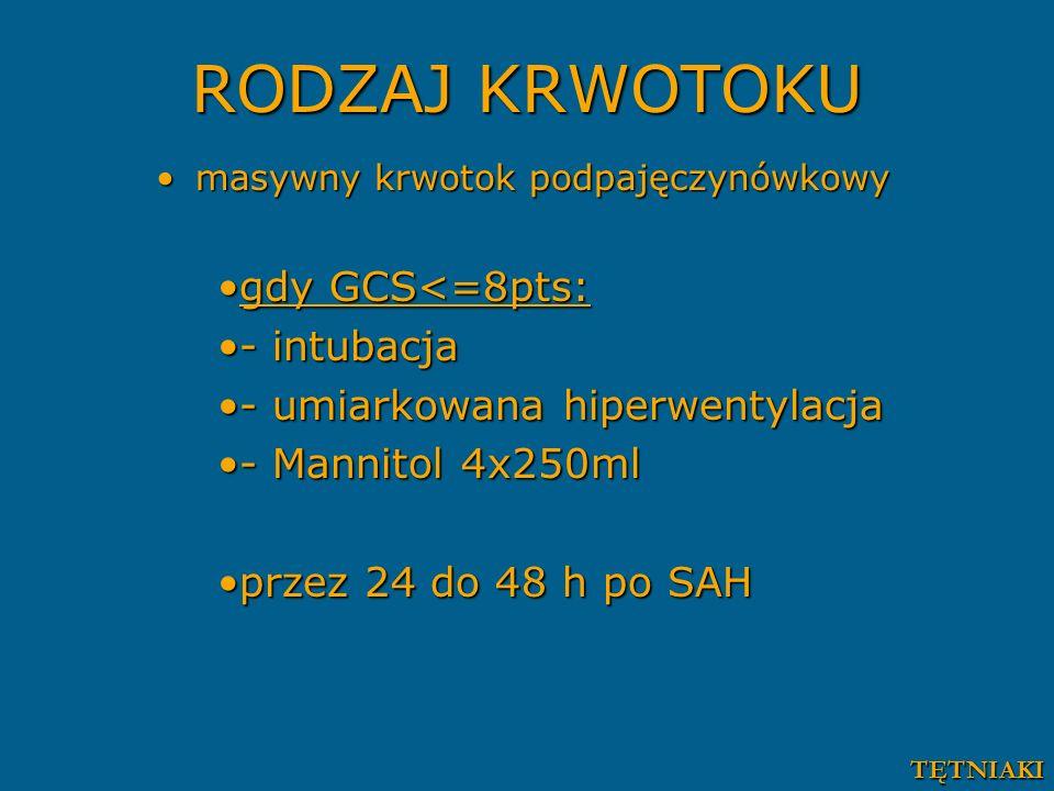 RODZAJ KRWOTOKU gdy GCS<=8pts: - intubacja
