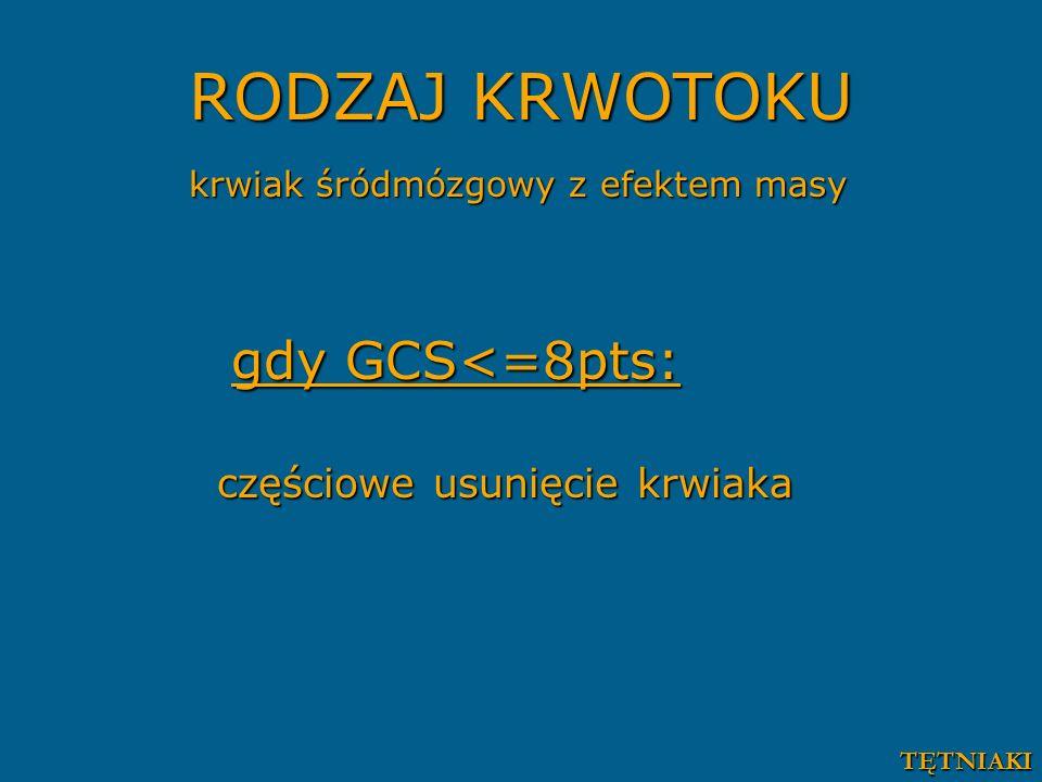 RODZAJ KRWOTOKU gdy GCS<=8pts: częściowe usunięcie krwiaka