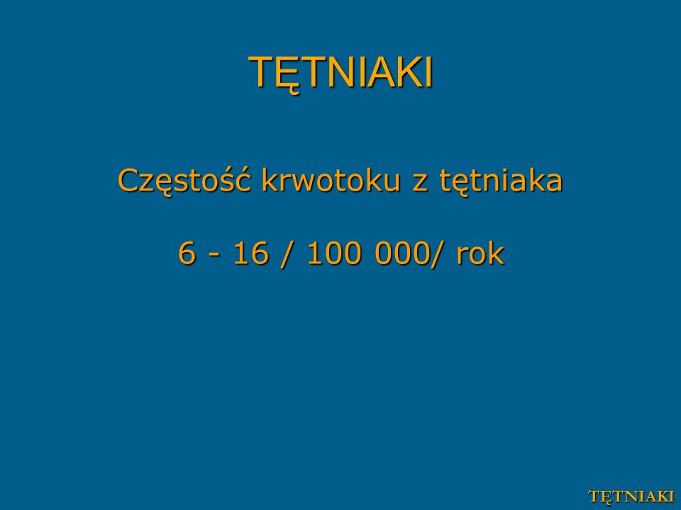 Częstość krwotoku z tętniaka 6 - 16 / 100 000/ rok